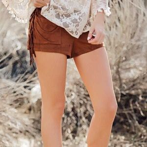 •Lush• High Waist Brown Suede Shorts🧶